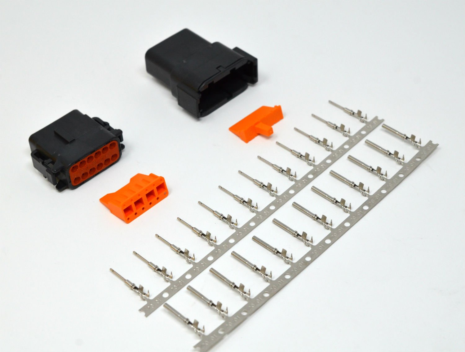 Deutsch DTM 12-pin Black Connector Kit 20AWG Stamped Contacts