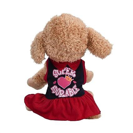SunGren Vestido de perro pequeño, camiseta de perro de mascota de moda Vestido de gato