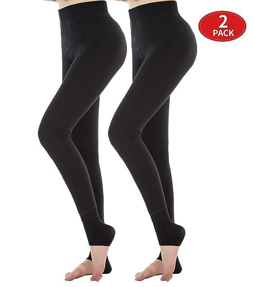 f91a70f569813 Diravo 2 Pack Womens Fleece Lined Leggings