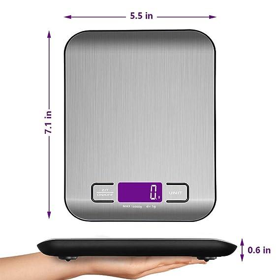 Báscula Digital Cocina Balanza de Alimentos Multifunciona Smart Digital Báscula con pantalla LCD para 5 kg / 11 lbs, Plataforma de Acero Inoxidable: ...