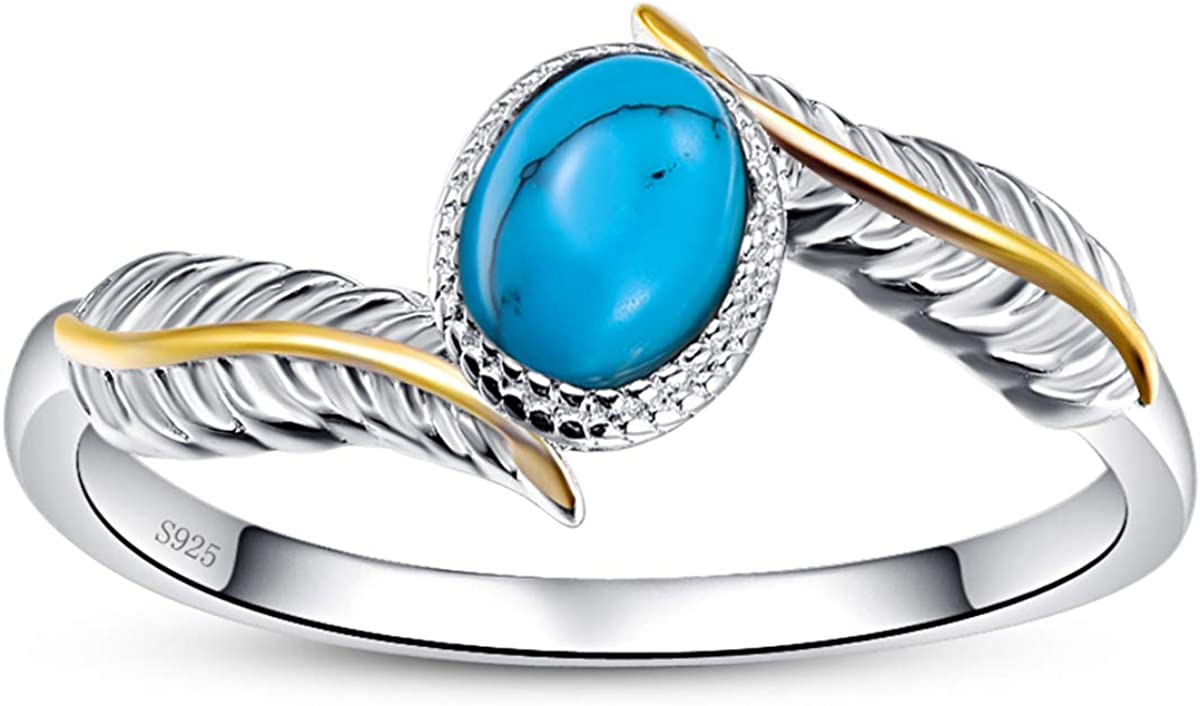 AVECON Womens 925 Sterling Silver Oval Cut Created Turquoise Feather Rings Engagement Wedding Bands Size 6-9