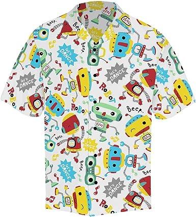 InterestPrint Bees in Blue Shirt Casual Beach Short Sleeve Button Up Shirt
