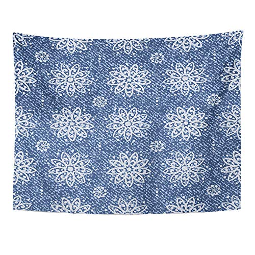 - Emvency Tapestry Wall Hanging Polyester Fabric Medallion Jeans Lotus Flowers Mandala Pattern Denim Blue Arabesque for Bedroom Living Bedspread Room Dorm Decorations 60x80 Inches