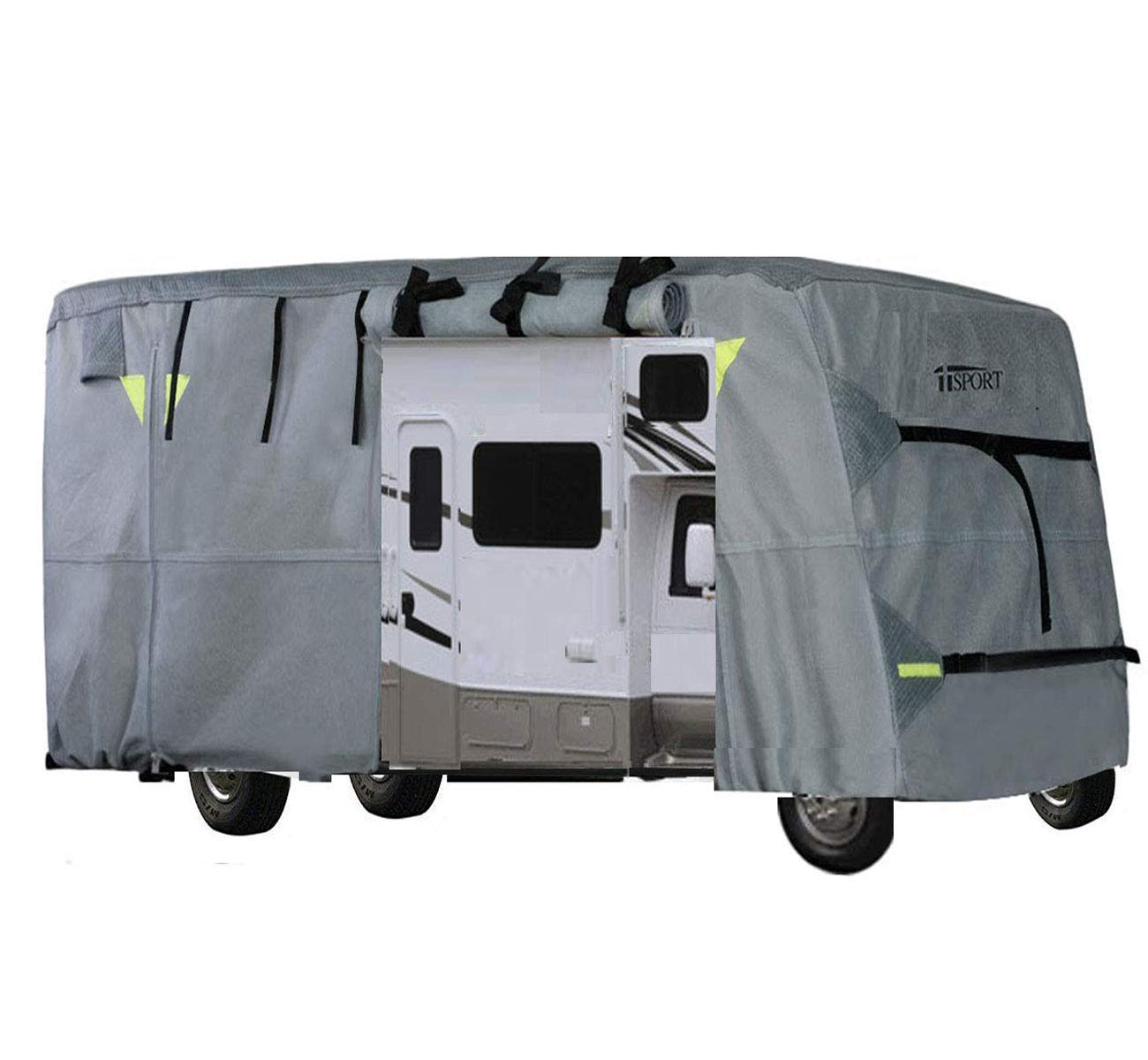 iiSPORT Extra Thick 4-Ply Top Panel Class C Motorhome Cover Fits 29'-32' RVs Zippered Adjustable Rear & Front Covers with Storage Bag, Snug-fit Elastic Hem, Strap & Buckle System by iiSPORT