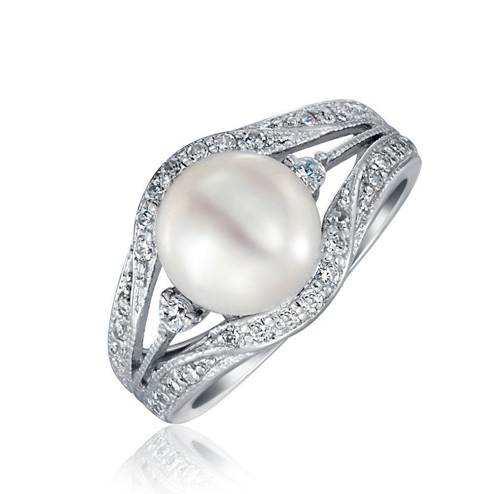 .925 Silver Vintage Style 9mm Freshwater Cultured Pearl Engagement Ring
