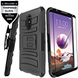 LG Stylo 4 Case,LG Stylo 4 Plus Case with Tempered Glass Screen Protector,IDEA LINE Heavy Duty Armor Shock Proof Dual Layer Holster Locking Belt Swivel Clip with Kick Stand - Black