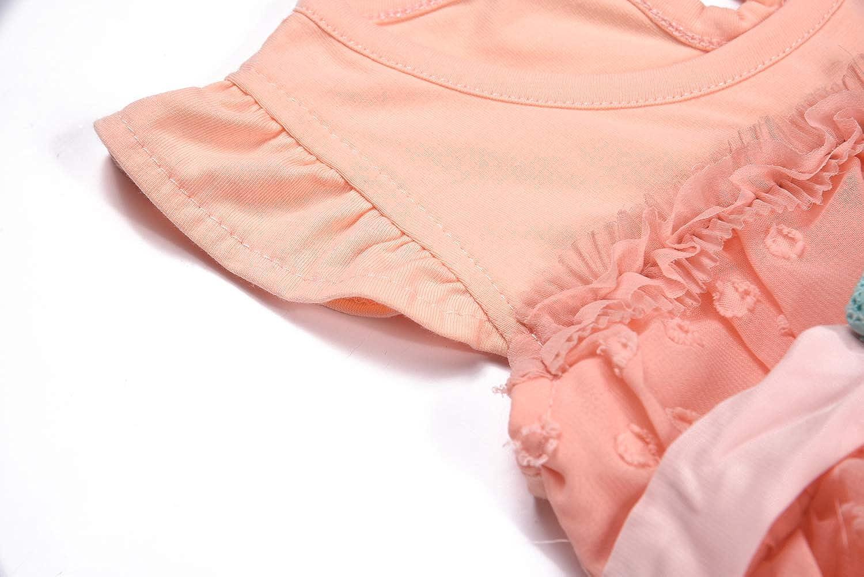 BONNY BILLY Baby M/ädchen Kleidung Sommer Baumwolle Chiffon Punkte Kleid mit R/üschen