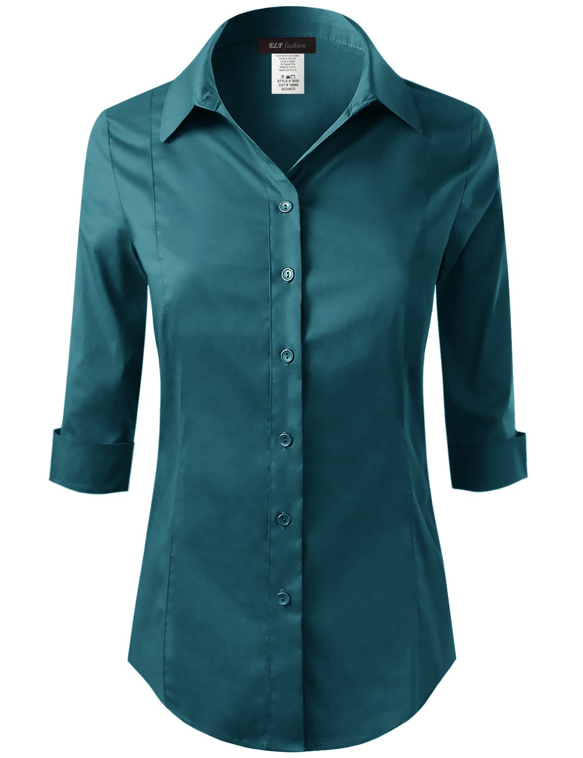 ELF FASHION Roll up 3/4 Sleeve Button Down Shirt for Womens Made in USA (Size S~3XL) Teal M