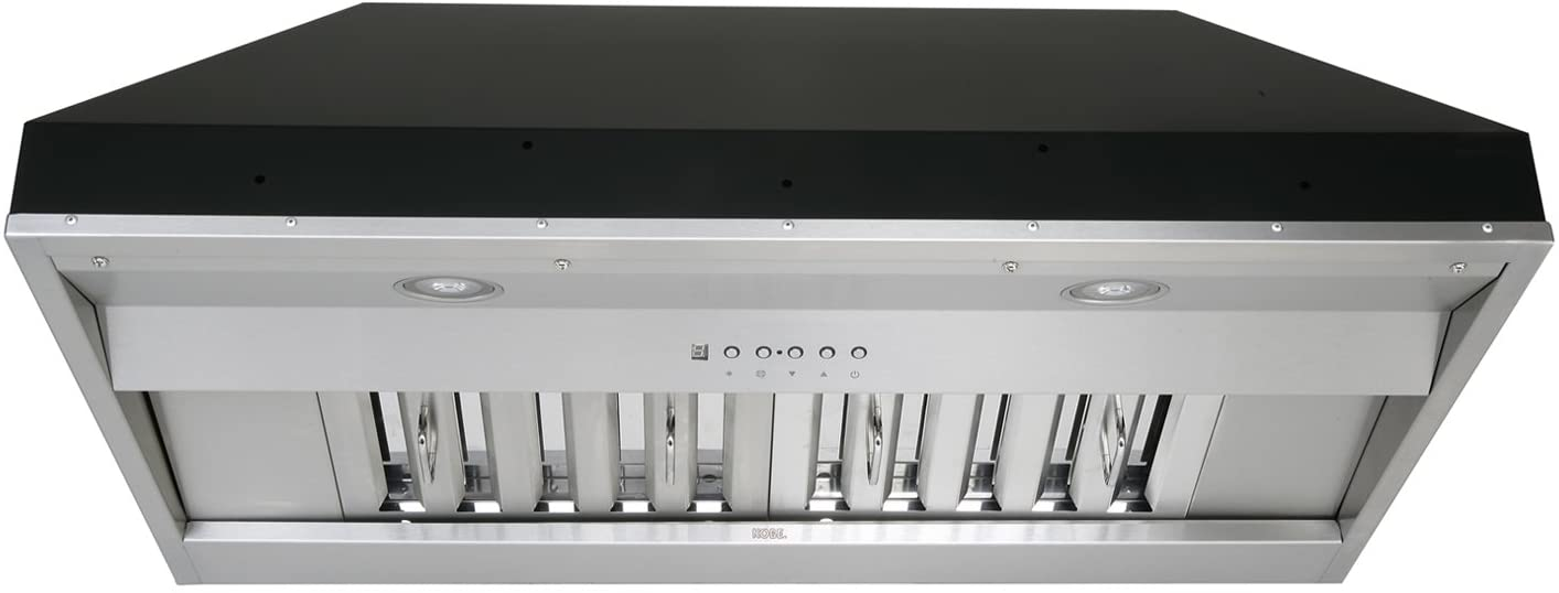 "KOBE Range Hoods KOBE IN2636SQB-650-5A Deluxe 36"" Built-In/Insert Range Hood, 6-Speed, 700 CFM, LED Lights, Baffle Filters, Inch, Stainless steel"
