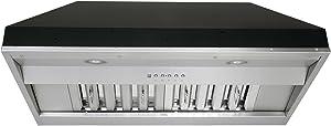 "KOBE Range Hoods KOBE IN2636SQB-650-5A Deluxe 36"" Built-In/Insert Range Hood, 6-Speed, 700 CFM, LED Lights, Baffle Filters, Inch, Stainless steel"