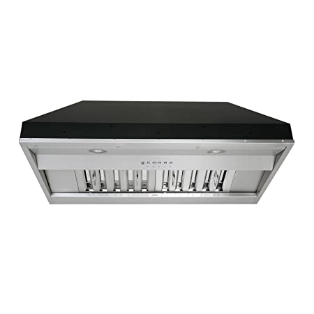 KOBE Range Hoods KOBE IN2636SQB-650-5A Deluxe 36 Built-In Insert Range Hood, 6-Speed, 700 CFM, LED Lights, Baffle Filters, Inch, Stainless steel