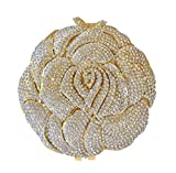 New Rose Sparkling Pave' Formal Wedding Party Evening Bag Crystal Bridal Clutch Silver & Gold Minaudiere