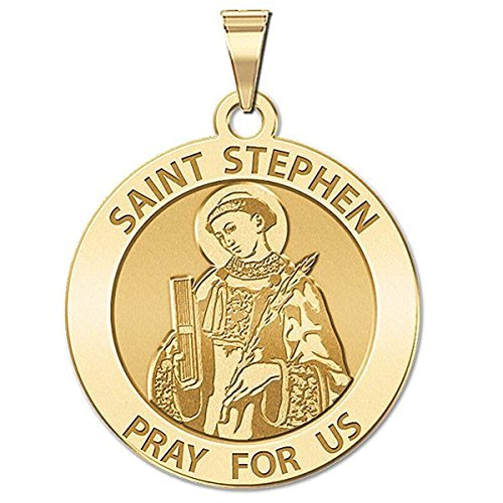 PicturesOnGold.com Saint Stephen Religious Medal - 3/4 Inch Size of a Nickel -Solid 14K Yellow Gold
