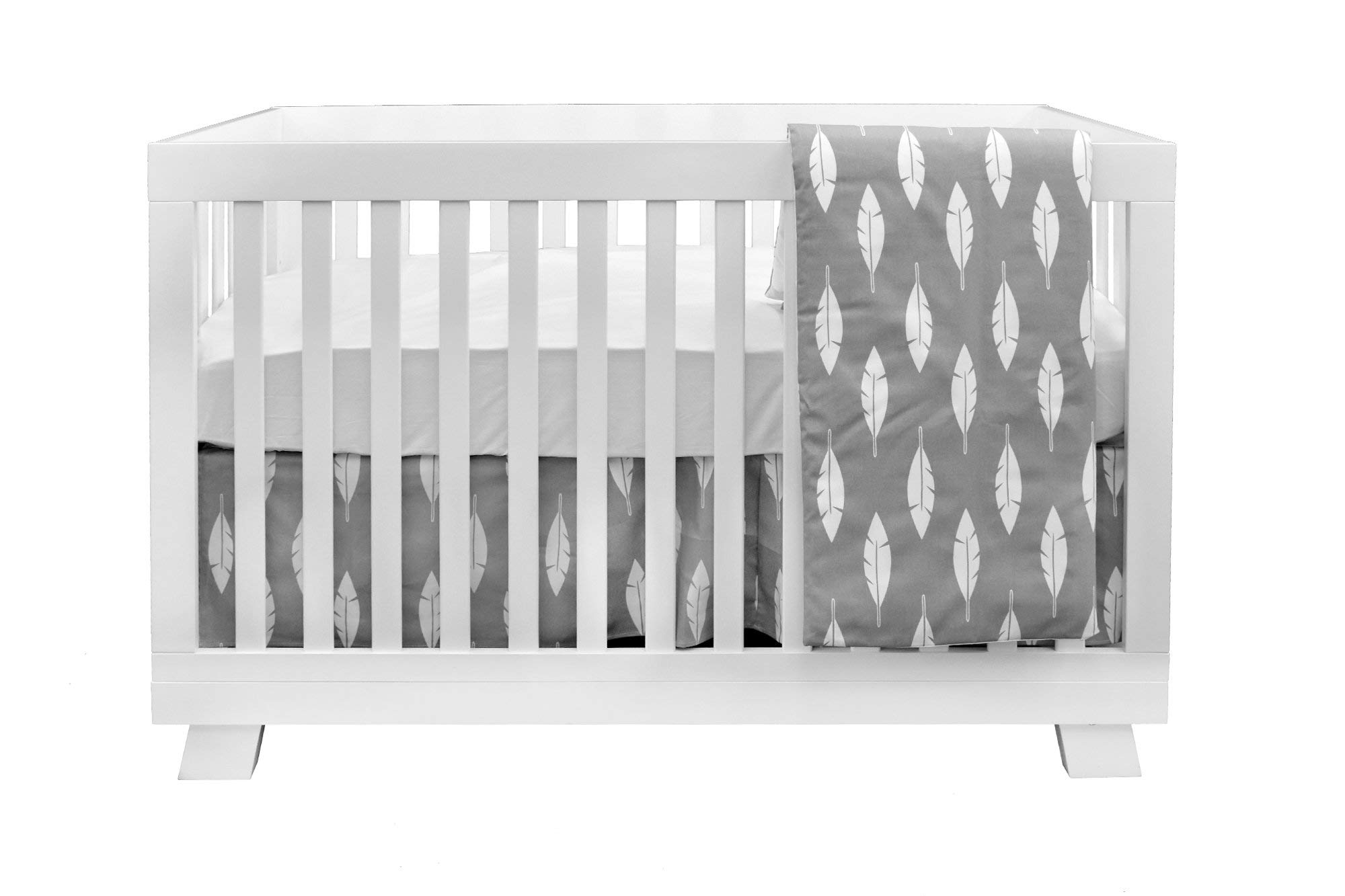 BOOBEYEH & DESIGN Baby Crib Bedding 4 Piece Set, Perfect for Baby Girls and Boys, Includes Gray and White Feather Design, Fitted Sheet, Crib Comforter, Comforter Cover, Skirt. by BOOBEYEH & DESIGN (Image #3)