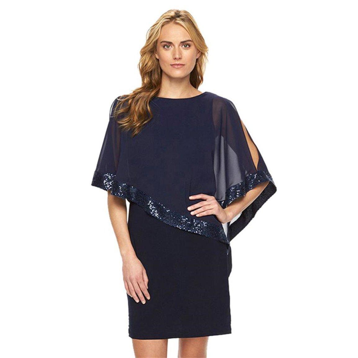 Moonuy,Frauen kurze Kleid, Damen Pailletten Flare Sleeve Mesh ...