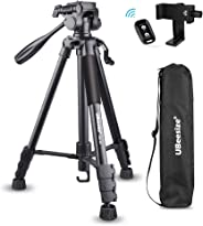UBeesize 60-inch Camera Tripod, 5kg/11lb Load TR60 Load Portable Lightweight Aluminum Travel Tripod with Carry Bag & Bluetoo