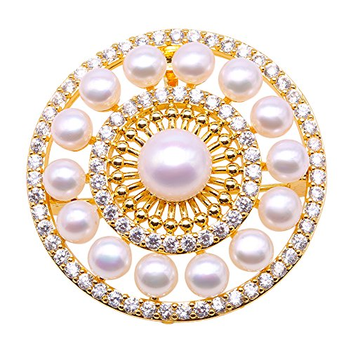 - JYX Pearl Brooch 5-9mm Pink Freshwater Cultured Pearl Brooch Pin for Women
