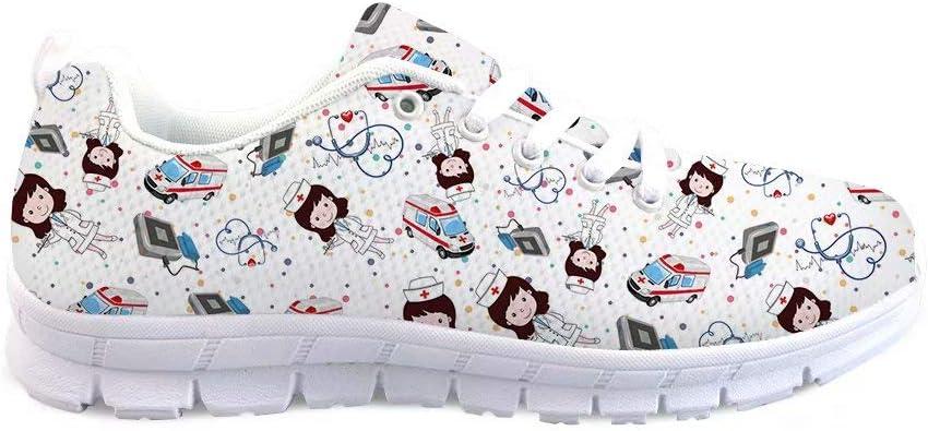 Advocator Zapatillas Deportivas de Mujer Plano Enfermera Patrón Calzado de Trabajo Sneakers Joven Transpirables Comodas Antideslizantes Interior Exterior Trail Running Blanco: Amazon.es: Zapatos y complementos