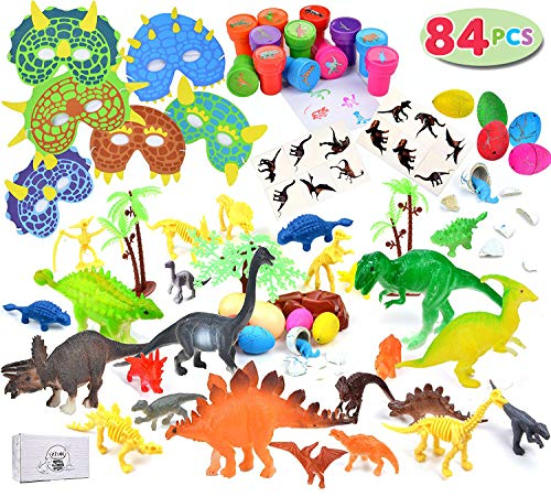 Joyin Toy 84 Pieces Kids Dinosaur World Party Favors Playset including 6 6'' Realistic Dinosaur Figures, Masks, Stamps and Sticker Tattoos for Birthday Party, Pinatas, Carnivals, and Goodie Bags