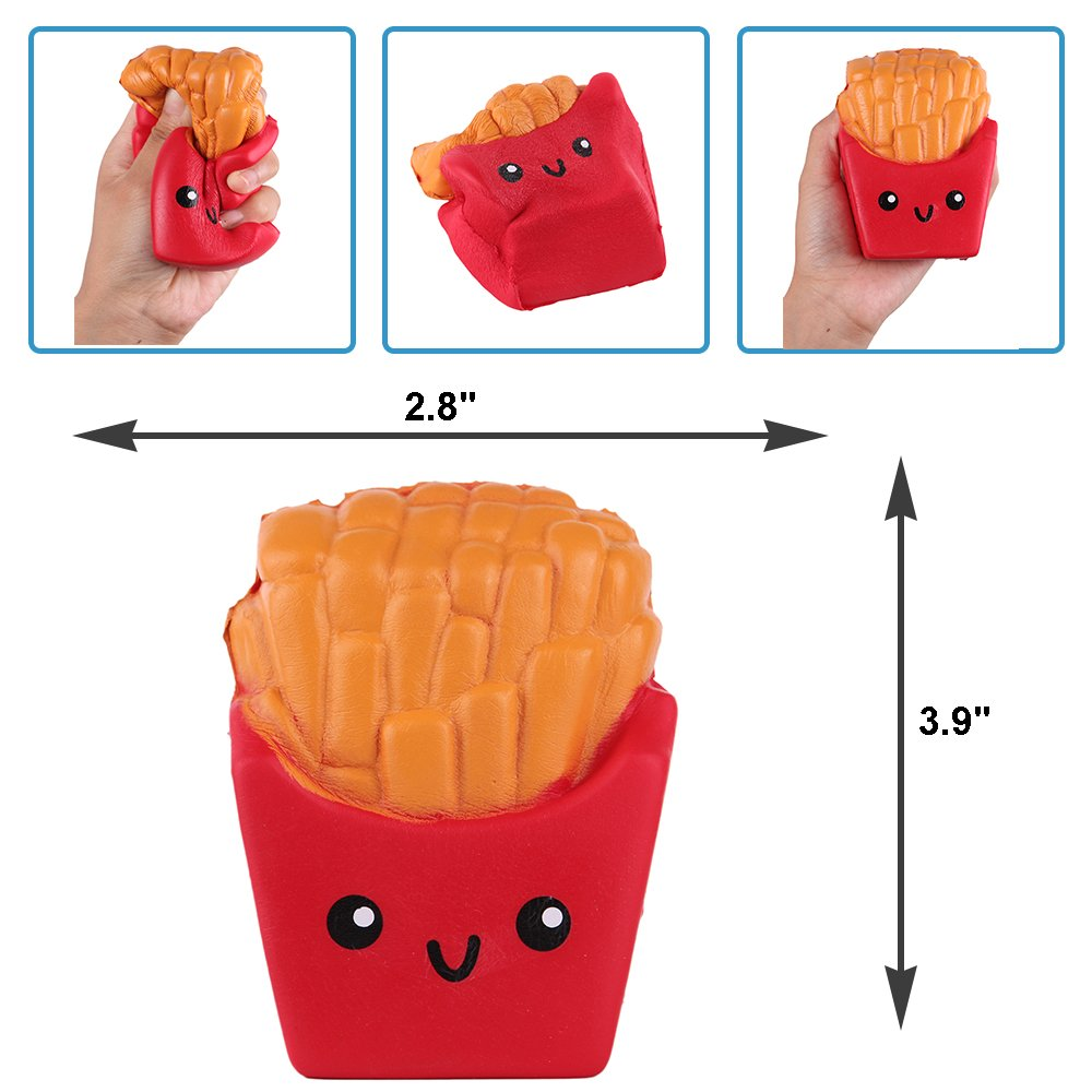 Anboor Squishies French Fries and Dog Popcorn Kawaii Slow Rising Scented Squishies Stress Relief Kid Toys Decorative Props Gift,2 Pcs