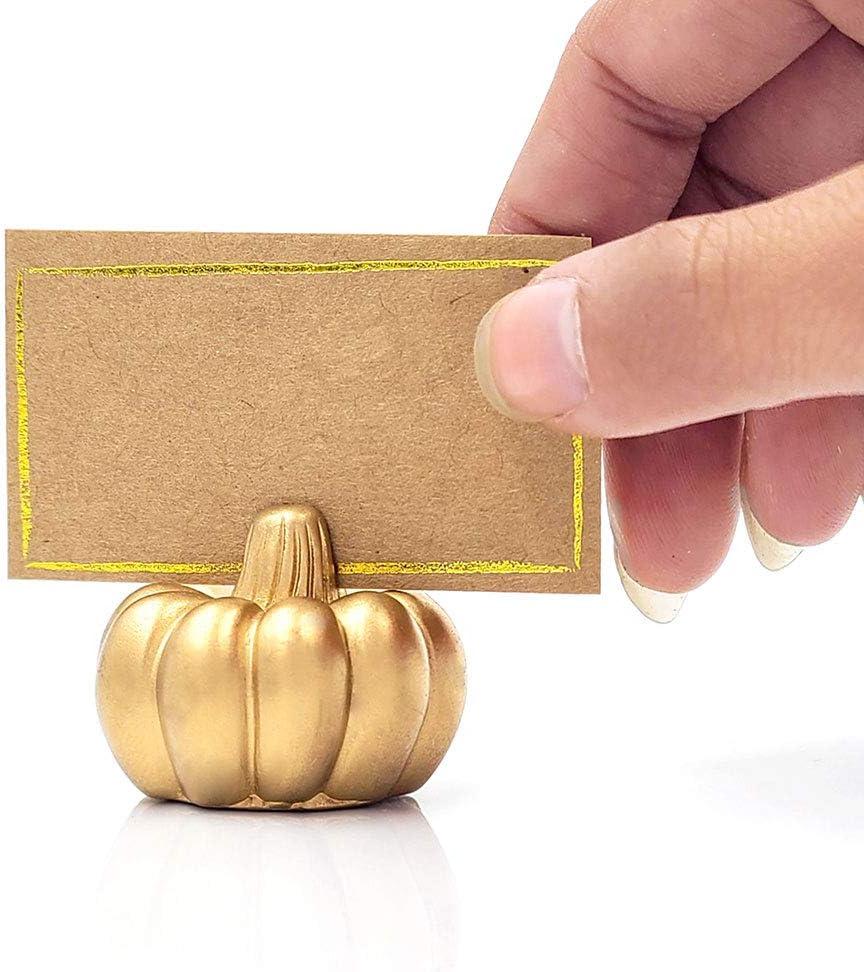 Kate Aspen Pumpkin Place Card Holder, Set of 6, Gold: Kitchen & Dining