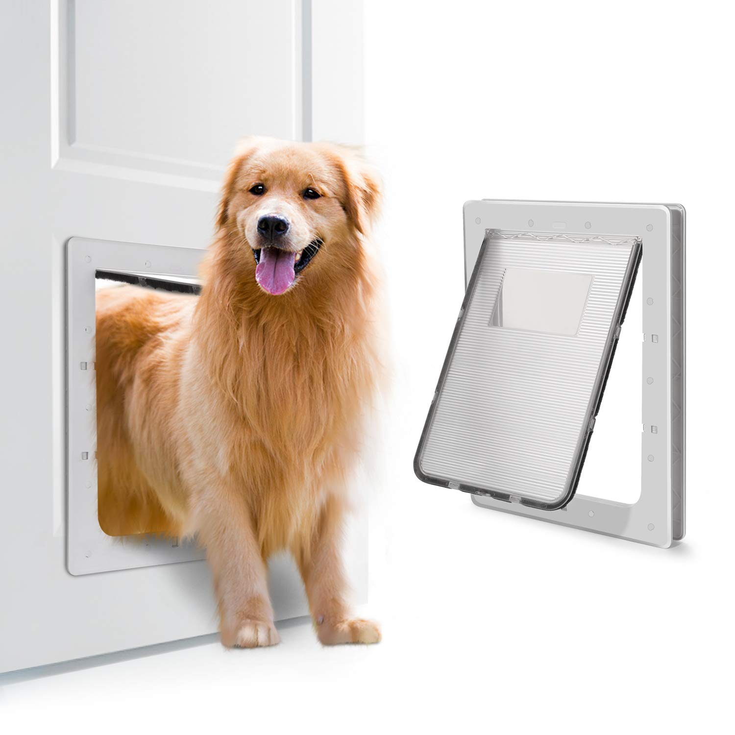 OWNPETS Pet Door, X-Large Pet Wall Doors with Plastic Flap Door, Size 16.7''X14.6''X1.77'' Pet Screen Door, Fit Small, Large and Extra Large Dogs (White) by OWNPETS