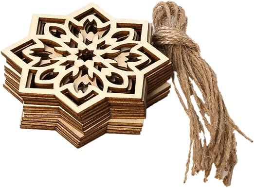 10pcs Eid Wood Hanging Pendants DIY Snowflake Ornament With Ropes Ramadan Deco