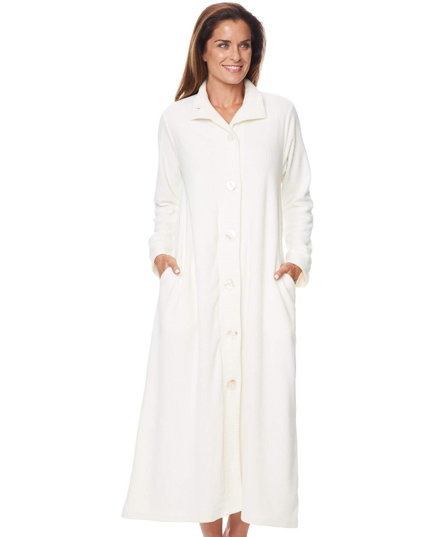 AmeriMark Womens Chenille Long Bath Robe Lounger Sleepwear with Big Buttons Ivory 2X(20W-22W) by AmeriMark