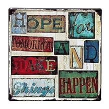 "Nafico Decorative Signs Metal Iron Tin Sign Vintage Retro Hope Words Decoration Art Bar Home Decor 12""x12"""