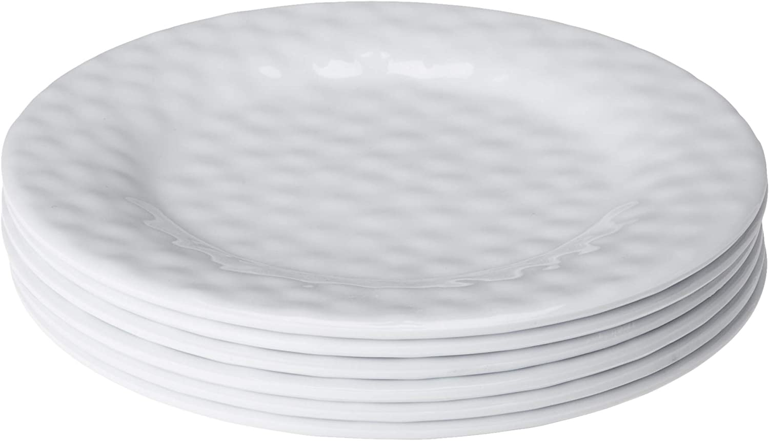 Bayview Essentials- Unbreakable Melamine Daily Plates- Set of 6 (Salad Plate, White)