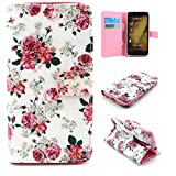 Asus Zenfone 2 Case ,Camiter White Flower Design Premium PU Leather Wallet Folio Protective Skin Case with Magnetic Closure for ASUS Zenfone 2 5.5inch ZE550ML/ZE551ML(Built-in Credit Card/ID Card Slot)