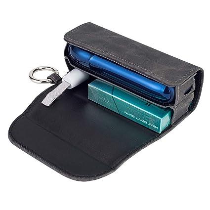 DrafTor - Funda para cigarrillo electrónico IQOS 3.0 con clip o hebilla (solo monedero), color gris