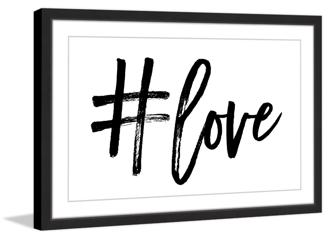 Marmont Hill ''#Love by Shayna'' Pitch Framed Painting Print, 24'' x 16'', Multicolor