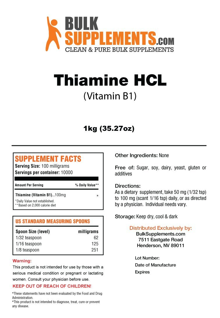 BulkSupplements Thiamine HCL (Vitamin B1) Powder (5 Kilograms) by BulkSupplements
