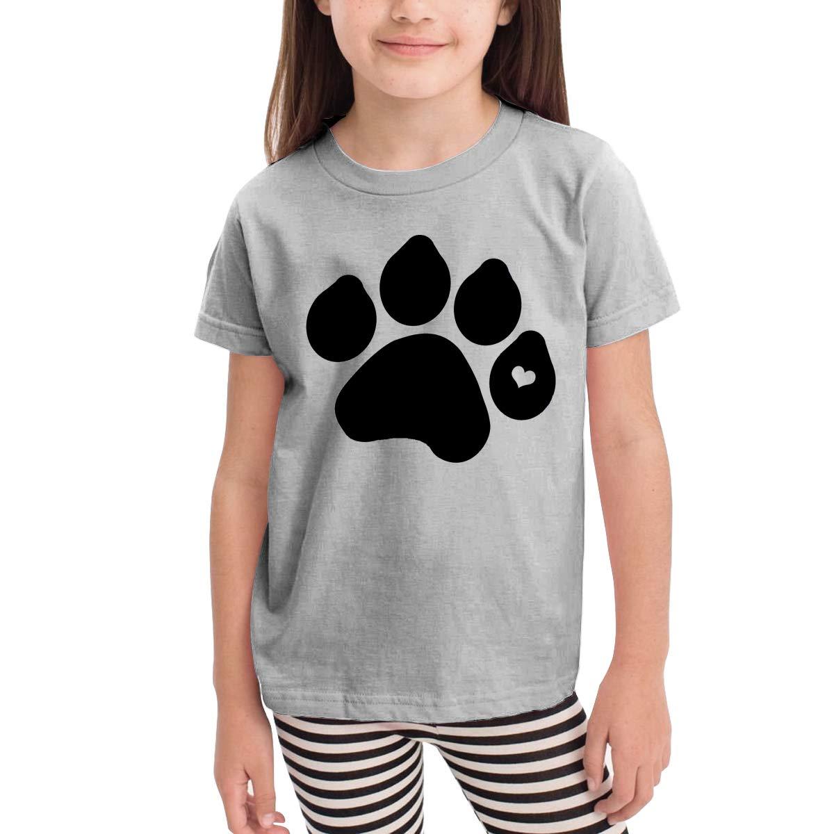 Dog Paw Funny Logo Unisex Youths Short Sleeve T-Shirt Kids T-Shirt Tops Black