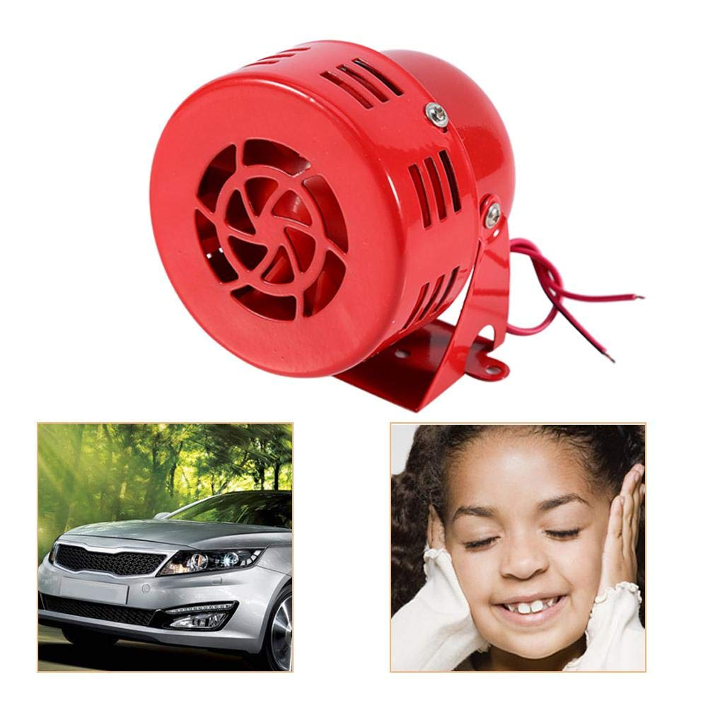 Acouto 12V Loud 110dB Air Raid Alarm Siren Electric Car Truck SUV Motorcycle Driven Horn Compact Red