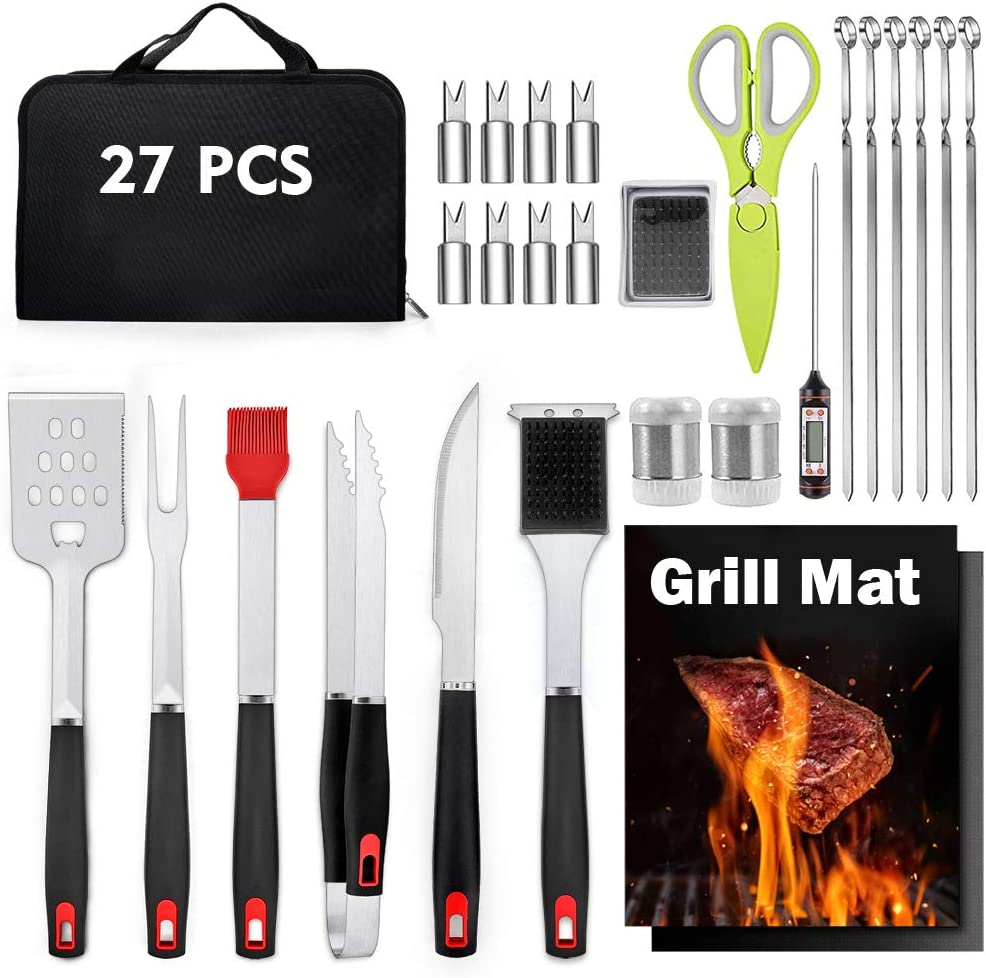 HaSteeL Grill Utensil Set of 27, Heavy Duty Stainless Steel Barbecue Accessories with Carrying Bag, Complete BBQ Grilling Tools Kit Perfect for Outdoor BBQ Cooking Camping Backyard, Man's Gift