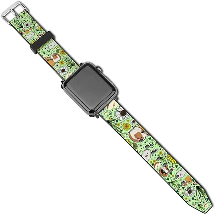 NiYoung Guinea Pigs and Flowers Strap Compatible Apple Watch Band 42mm 44mm 40mm 38mm PU Leather Compatible Watch Band/Strap Compatible Apple Watch Series 5 4 3 2 1