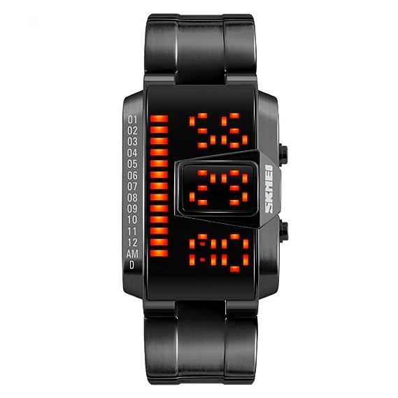 Ciencia Ficción moda impermeable LED reloj para hombre/mujer Digital LED relojes deportivos, negro