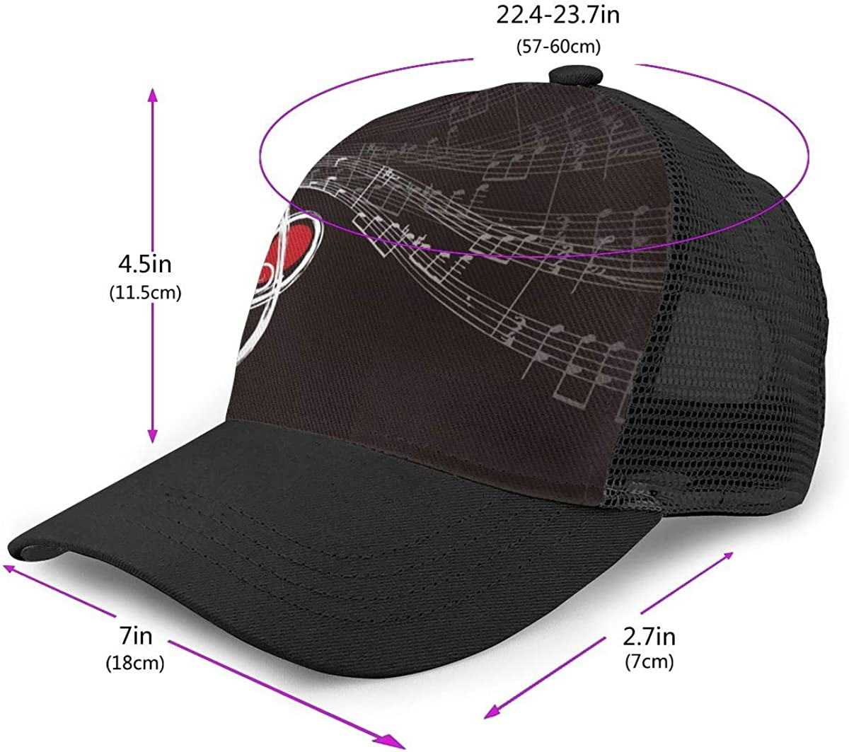 Mens and Womens Treble Love and Music Notes Flat Baseball Cap Classic Trucker Hat for Unisex