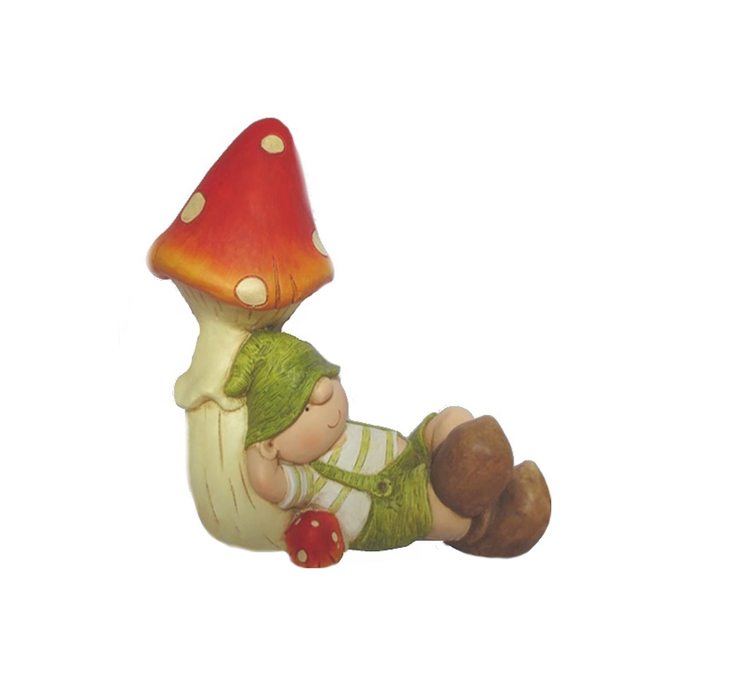 Northlight QQ76196 Young Boy Gnome Under a Mushroom Spring Outdoor Garden Patio Figure Statuary and Fountains, 17'', Green