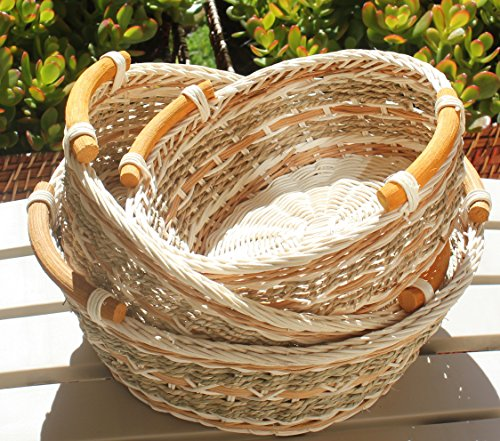 RT450120-3 Round Wicker/Rattan Bread or Storage Baskets in Gray and Brown with Curve Pole Handles (3 Bread)