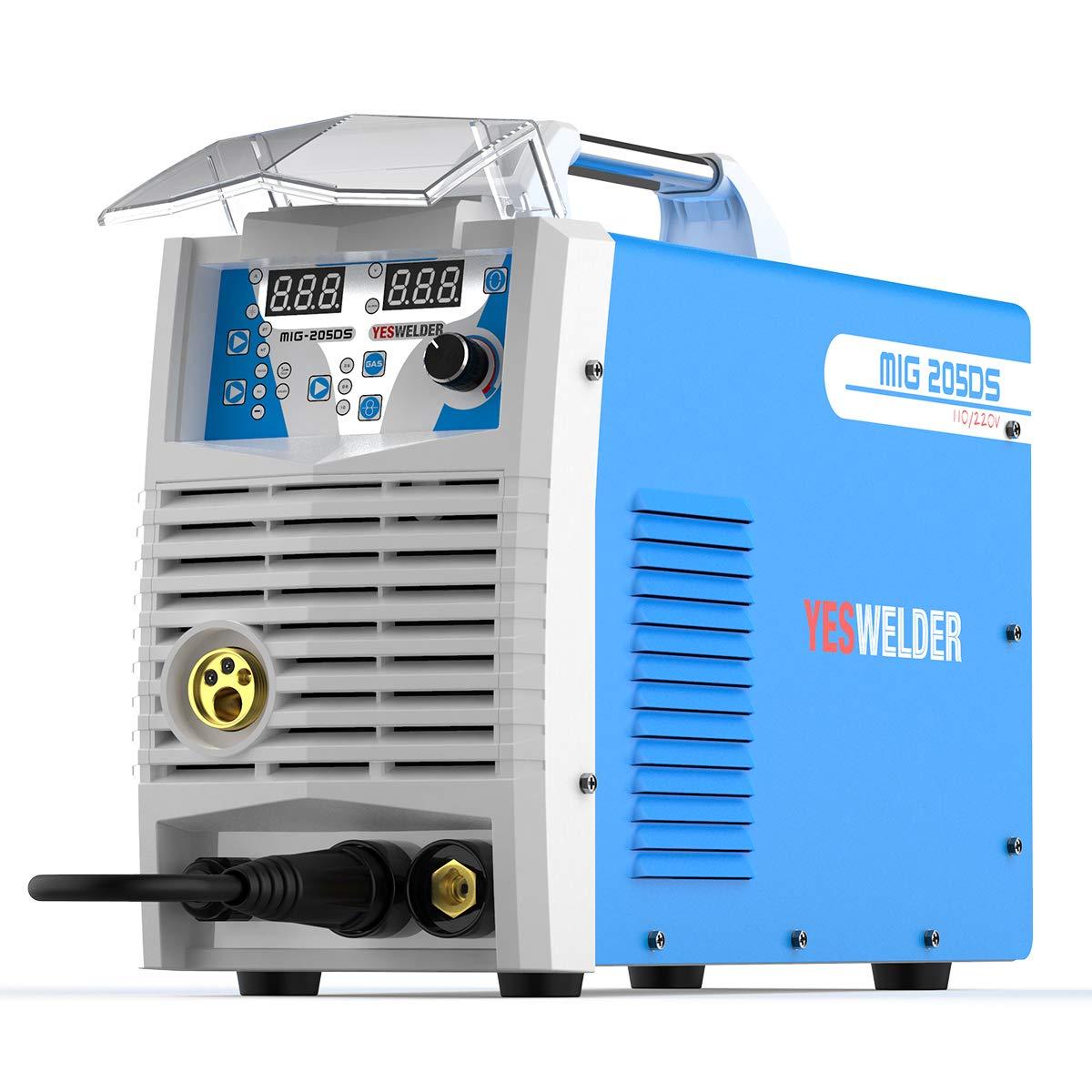 Mig Welder MIG-205 MIG TIG ARC Welding Machine Gas Gasless Welder 110/220V Dual Voltage Mig Welding Machine 3 in 1 by YESWELDER