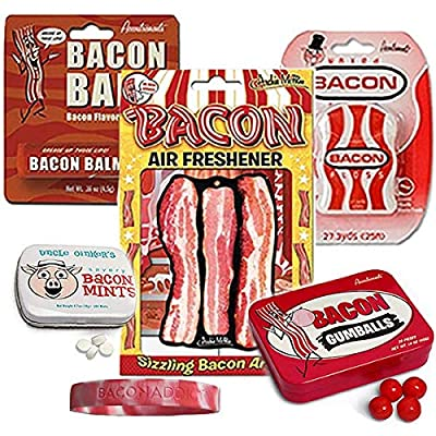 Bacon Addicts Survival Kit Gift Pack (5pc Set + Wristband) - Bacon Dental Floss, Lip Balm, Mints, Gumballs & Air Freshener + Silicone Wristband: Toys & Games