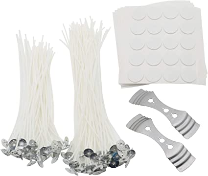 ROSENICE 100pcs Candle Wick with Candle Wick Stickers and Candle Wick Centering Device