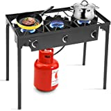 Goplus Outdoor Stove Portable Propane Gas Cooker Iron Cast Patio Burner w/Detachable Legs for Camp Cooking (3-Burner 225,000-