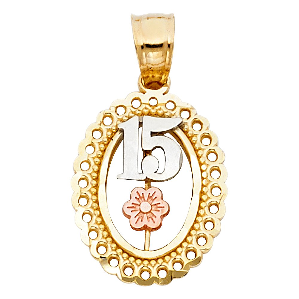 14K Tri Color Gold Sweet 15 Years Quinceanera Round Charm Pendant with 2mm Figaro 3+1 Chain Necklace