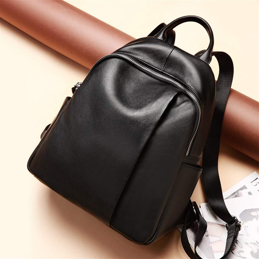 ZYSTMCQZ stöldskydd design vattentät mode äkta läder kvinnor ryggsäck svart skolväska för flickor daglig vardaglig resväska ryggsäck (färg: Mörkröd) mörkröd