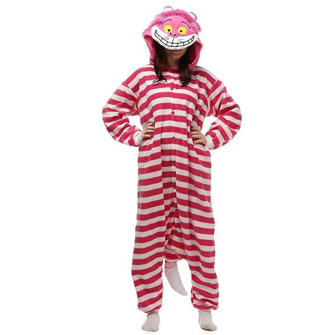 e958ce3a012f Amazon.com  CHARWOR Adult Unisex Cheshire Cat Onesie Pajama Costume   Clothing