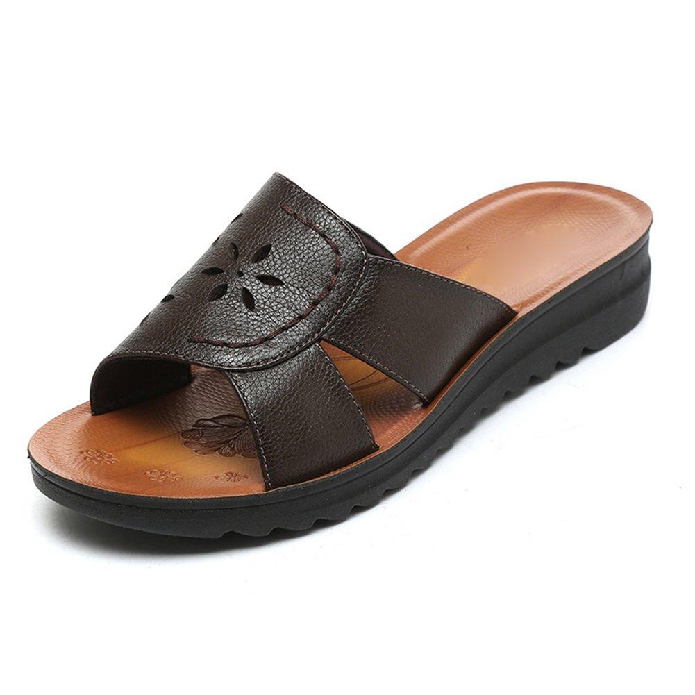 PENGFEI Verano Zapatillas Pantofola Hembra Fondo Plano Casual De Edad Mediana, Altura del Talón 3.5CM, 5 Colores (Color : Verde Oscuro, Tamaño : EU43/UK8/US9.5/265) EU43/UK8/US9.5/265|Verde Oscuro